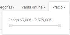 filtro de precios en catálogo de muebles