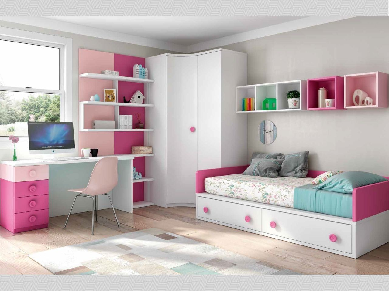 habitaci n juvenil blanco fucsia y rosa con tirador. Black Bedroom Furniture Sets. Home Design Ideas