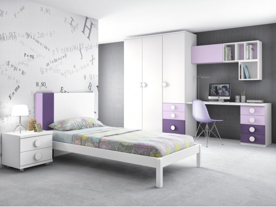 habitaci n juvenil blanco violeta y novotex lila con tirador redondo del modelo formas f452 de. Black Bedroom Furniture Sets. Home Design Ideas