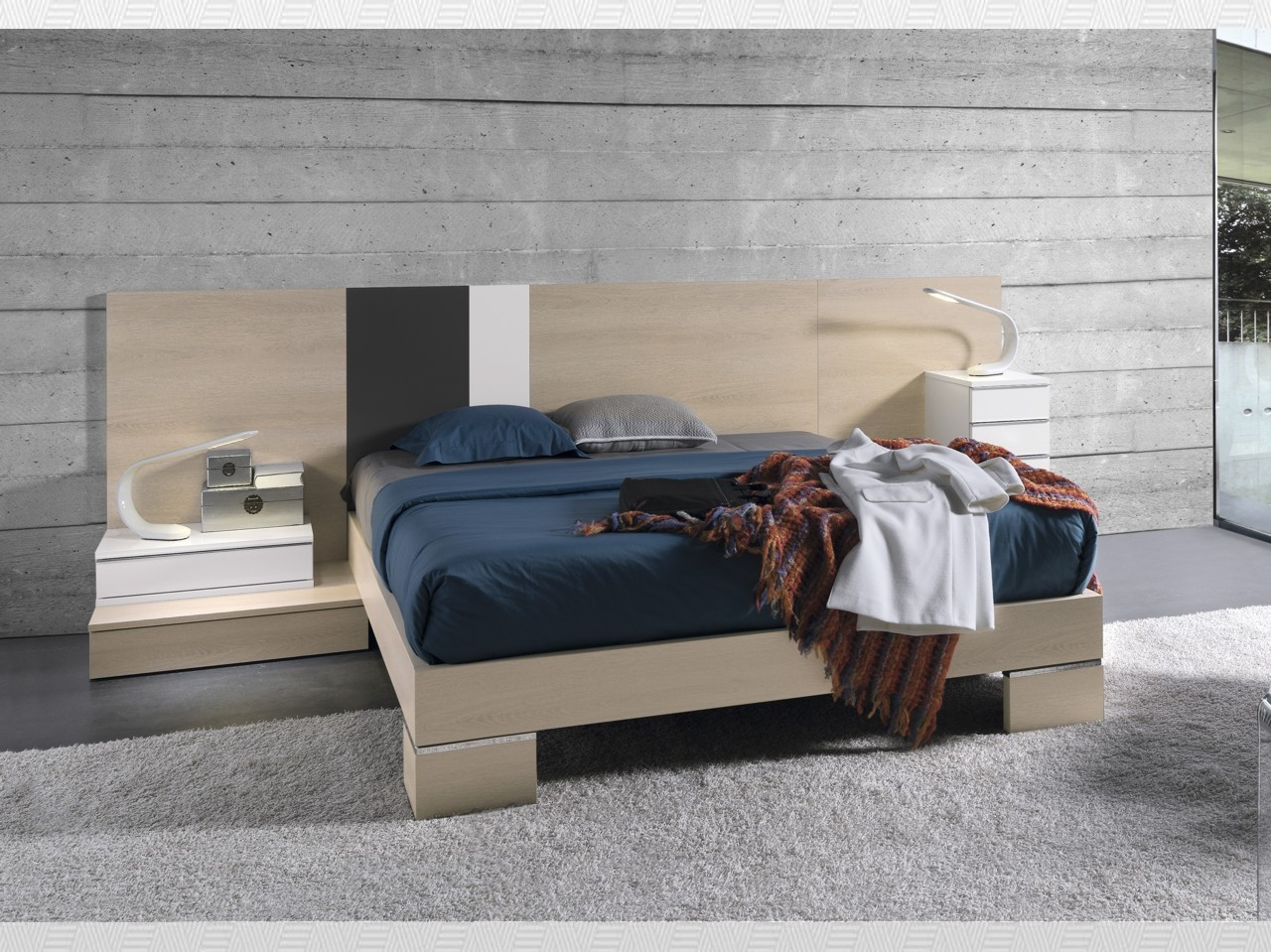 Dormitorio matrimonio roble grafito blanco lacado del for Muebles chaves
