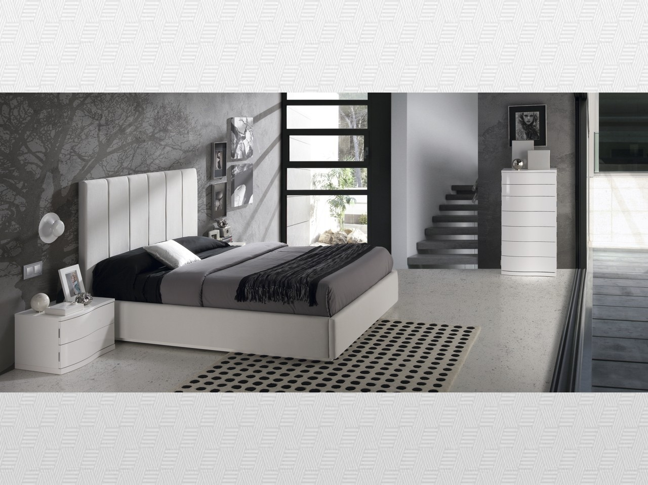 Dormitorio matrimonio blanco blanco lacado tapizado for Muebles de matrimonio