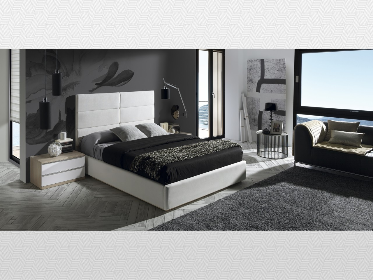 Dormitorio matrimonio roble blanco lacado tapizado for Muebles chaves