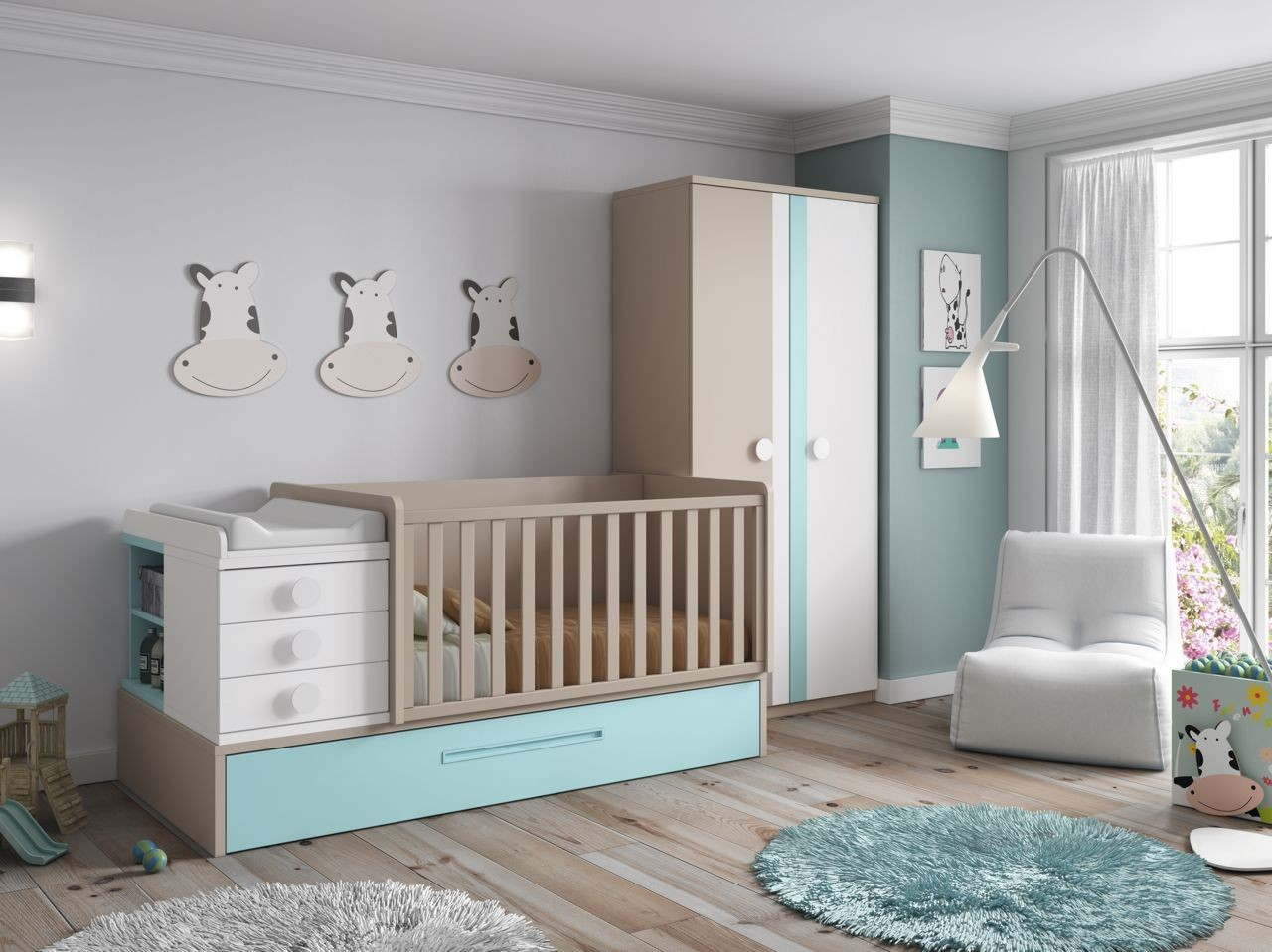 Dormitorio Infantil Convertible En Juvenil Color Blanco Lago Y  # Muebles Covertibles