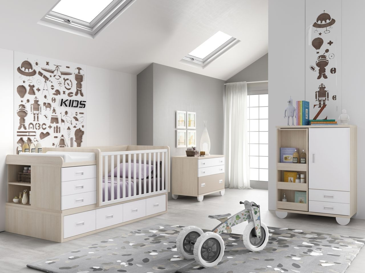 Dormitorio Infantil Convertible En Juvenil Color Betula Blanco Y  # Muebles Covertibles